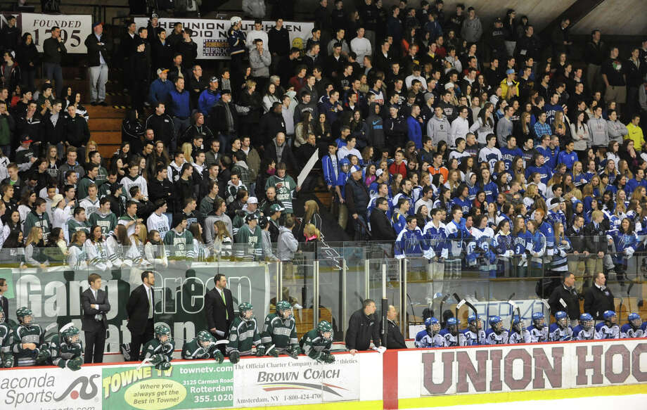 Shenendehowa and Shenendehowa fans watch the section II division I hockey championship game at Union College on Thursday Feb. 21, 2013 in Schenectady, N.Y.  (Lori Van Buren / Times Union) Photo: Lori Van Buren