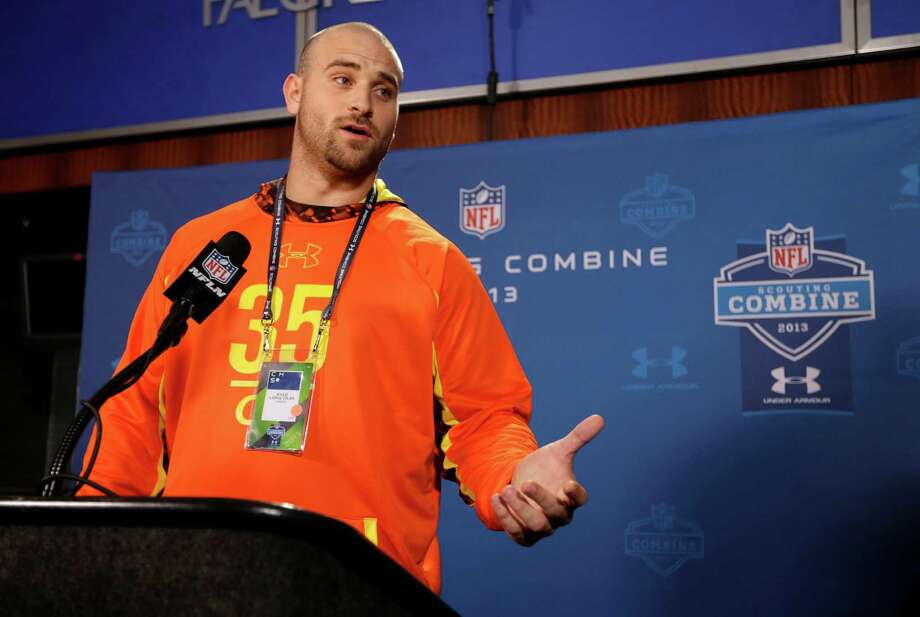 Oregon offensive lineman Kyle Long answers a question during a news conference at the NFL football scouting combine in Indianapolis, Thursday, Feb. 21, 2013. (AP Photo/Michael Conroy) Photo: Michael Conroy