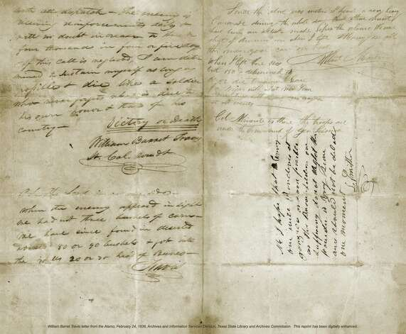 "Lt. Col. William Barret Travis' ""victory or death"" letter will be on display at the Alamo for 13 days. Photo: Courtesy Photo"