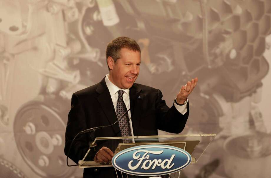 Joe Hinrichs, Ford's President of the Americas, announces plans to build the 2.0-liter EcoBoost engine at the Ford Cleveland Engine Plant, Thursday, Feb. 21, 2013, in Brook Park, Ohio. Ford is moving production of a popular small engine from Spain to Cleveland as sales of four-cylinder motors continue to rise. Photo: Tony Dejak