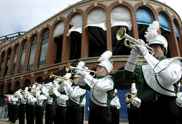 The talented New Milford High School marching band and color guard performed at Shea Stadium in New York for the Mets' final opening day at the old stadium on April 8, 2008.  Courtesy of Bob Stone Photo: Contributed Photo