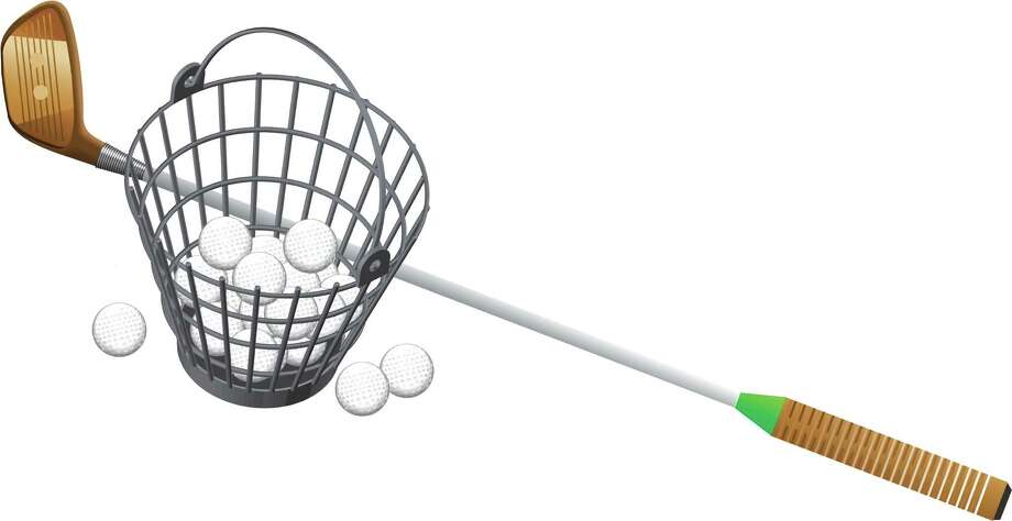 Robert Wuensche illustration \ Houston Chronicle Golf club with bucket of balls