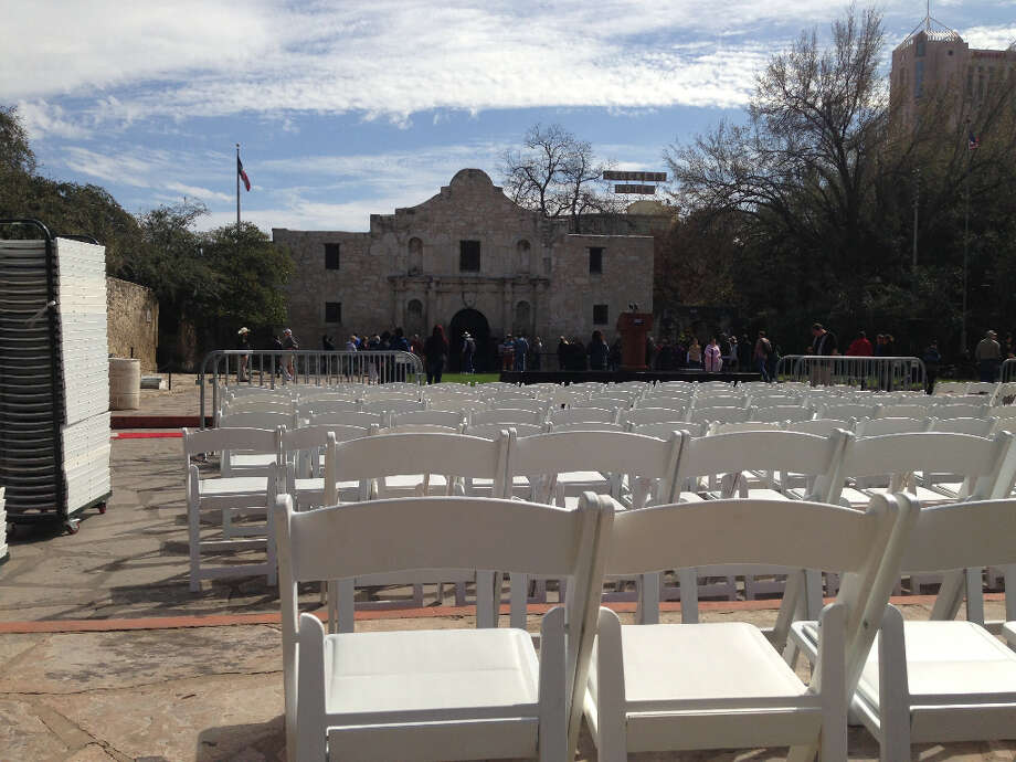 Chairs are set up in from the Alamo in preparation for the Travis letter's return.