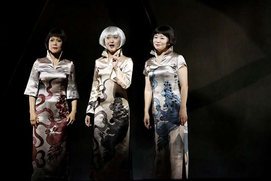 "LuLing Liu Young, played by Nina Liang, left, Precious Auntie, played by Qian Yi, center, and Ruth Young Kamen, played by Zheng Cao, right, at the dress rehearsal of SF Opera's world premier of the opera based on the Amy Tan novel ""The Bonesetter's Daughter""  in 2008. Photo: Katy Raddatz, The Chronicle"