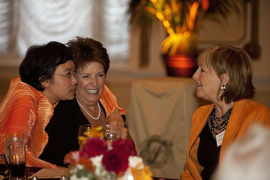 (Left to right): Zheng Cao, a star with the San Francisco Opera, Bonnie J. Addario and Frederica Von Stade enjoy a conversation at the opening night of the International Lung Cancer Conference gala at the Fairmont Hotel July 29, 2009 in San Francisco. Photo: David Paul Morris, Special To The Chronicle