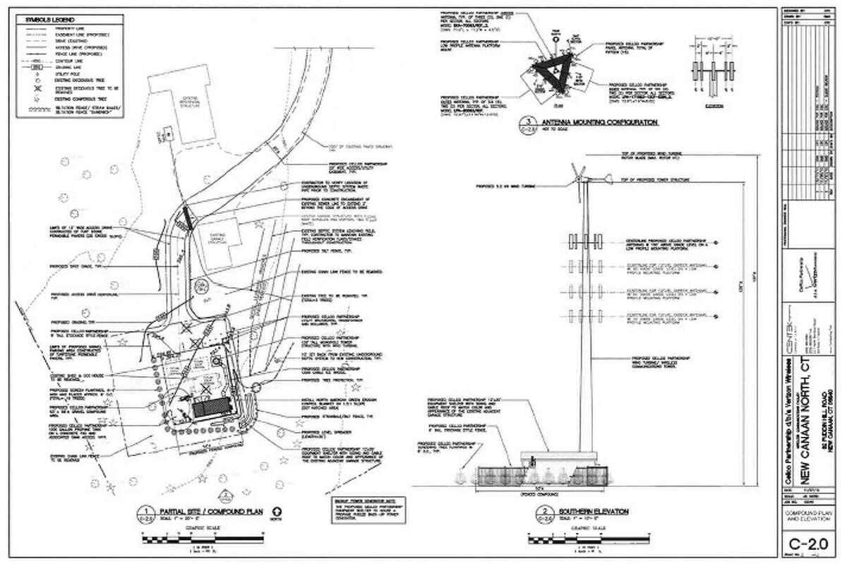 Plans for the proposed new cell tower which would have stood at 82 Puddin Hill Road. The tower would have been 125 feet tall and had a wind turbine attached to it.