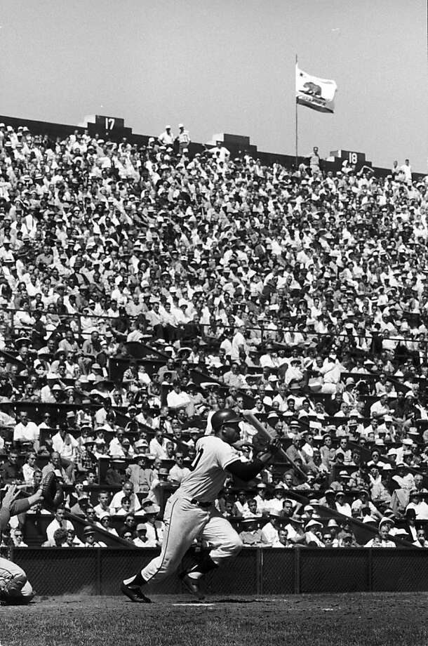 The crowd at Seals Stadium watches Orlando Cepeda bat against the White Sox. Photo: Joe Munroe, Getty Images