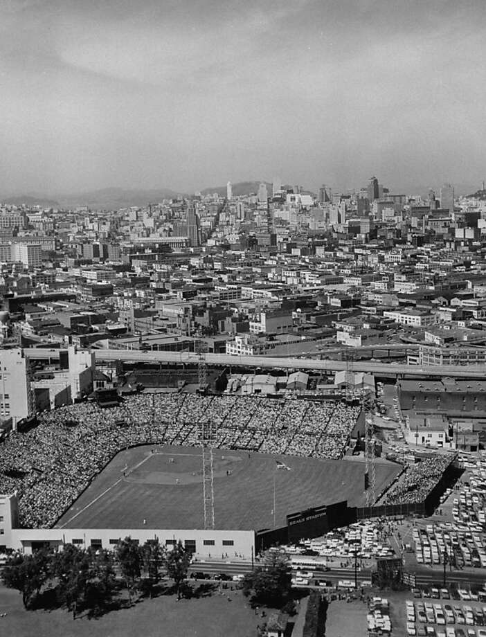 An aerial shot of Seals Stadium and the City beyond during Opening Day 1958. Photo: Nat Farbman, Getty Images