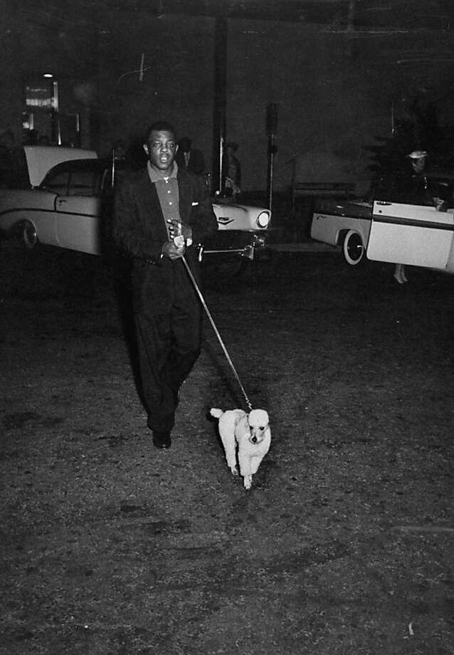Willie Mays takes his poodle(?) for a walk at San Francisco International Airport. Photo: Nat Farbman, Getty Images