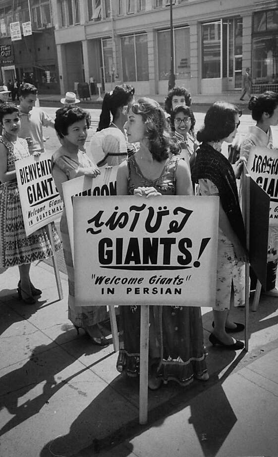 Baseball fans reflecting the diversity of San Francisco outside Seals Stadium in the 1950s. Photo: Jon Brenneis, Getty Images