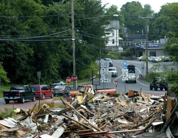 Rubble remains of the big building at 5 Bridge Street in New Milford razed June 30-July 1, 2008 as part of the Grove Street/Route 67 realignment project in New Milford. June 30, 2008 Photo: Norm Cummings
