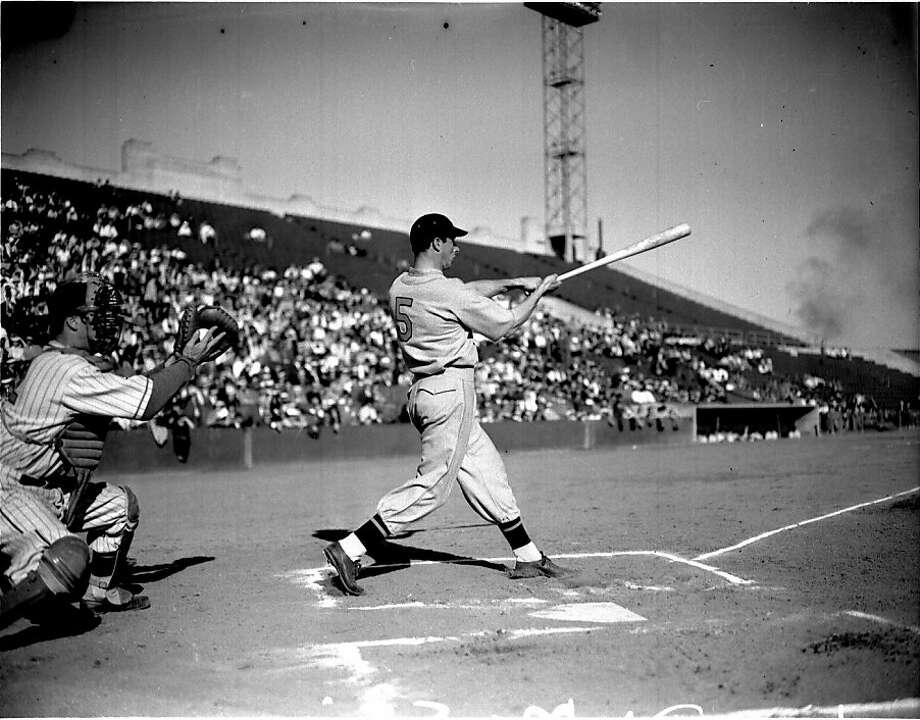 Joe DiMaggio takes a big swing at Seals Stadium, San Francisco, Nov. 1939. Photo: X, The Chronicle