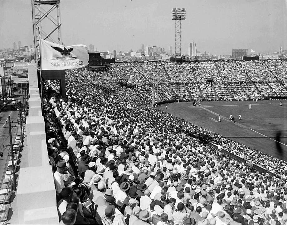 The San Francisco Giants on Opening Day 1958 at Seals Stadium. Photo: The Chronicle 1958
