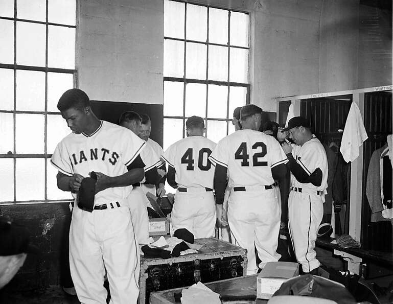 San Francisco Giants in the locker room of Seal Stadium on April 15, 1958.