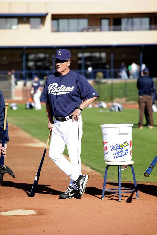 Richard Dauer waits for infielders to take ground balls during spring training on Monday, Feb. 18, 2013 in Peoria, AZ.  Photo by Jason Wise Photo: Jason Wise