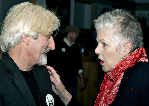 Actor and community activist Lynn Redgrave, 67, a resident of Kent who died in May, is shown here relishing an April  chat with Kent Film Festival director Frank Galterio. Photo: Trish Haldin