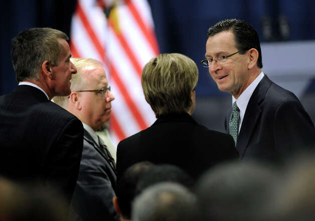 Danbury Mayor Mark Boughton and Gov. Dannel Malloy attended a conference on gun violence is held at Western Connecticut State University, in Danbury, Conn. Thursday, Feb. 21, 2013 Photo: Carol Kaliff / The News-Times