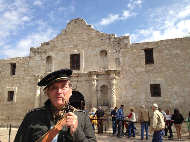 John Tyler, dressed as a New Orleans gray sergeant, will be part of the color guard that will lead the Travis letter back into the Alamo.