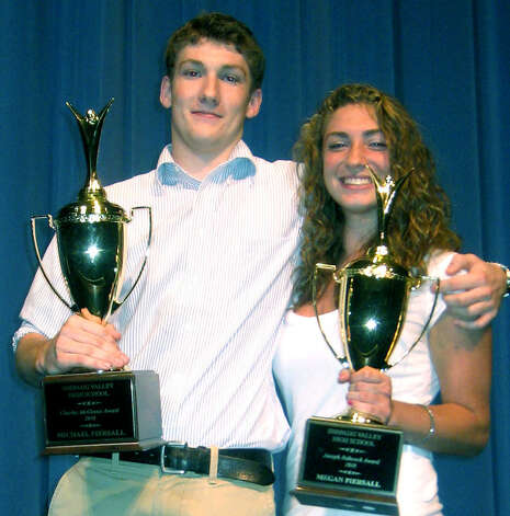 The Piersalll twins, Michael and Megan Piersall, sweep the respective Charles McInnis and Joseph Babcock awards as the top male and femaile senior athletes for 2009-10 during Shepaug Valley High School's year-end sports awards ceremony in June. Photo: Norm Cummings