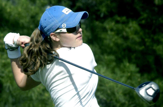 Shepaug Valley High School freshman golf prodigy Mia Landegren of Bridgewater romps to victory in June 2010 at the New England girls' championship at Brentwood Country Club in Keene, N.H. Photo: Norm Cummings
