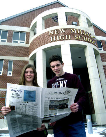 Anastasia Kouloganes and Mike Stoklosa are editors of The Wave Review at New Milford High School, January 2010. Photo: Norm Cummings