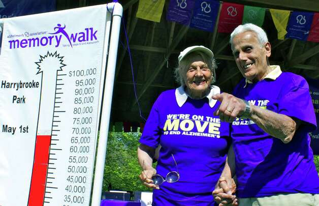 Celebrating 70 years of marriage, Mieke and Joe Michael of New Milford are among the hundreds of Greater New Milford-area residents helping raise awareness of the Alzheimer's Association's cause by participating May 1, 2010 in the annual Alzheimer's Memory Walk at Harrybrooke Park. Photo: Trish Haldin