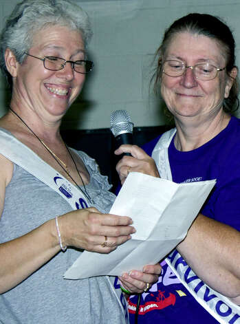 Pleased to be counted as a cancer survivor following chemotherapy that ended in January is honorary chaiman Claudia Avery, left, joined by felllow survivor Barbara Hallecks at the New Milford Relay For Life, June 26-27, 2010 at Sarah Noble Intermediate School Photo: Trish Haldin
