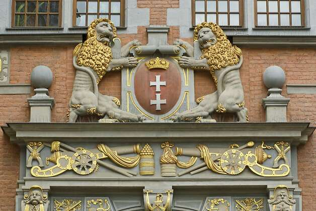 Coat of arms of Gdansk at portal at Great Arsenal in Gdansk, Poland. Photo: Witold Skrypczak, Lonely Planet Images
