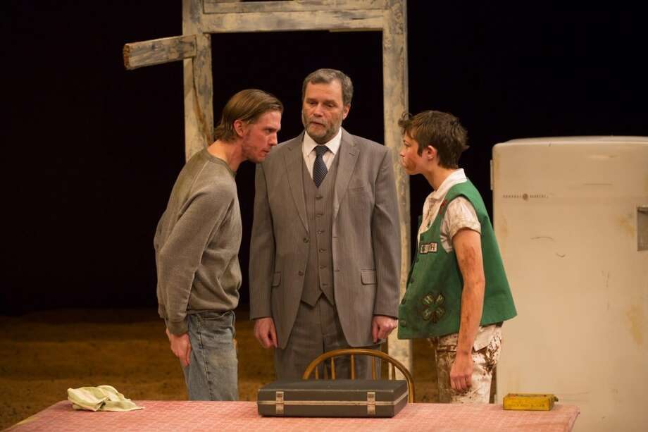 Peter Albrink, John Procaccino and Elvy Yost are featured in The Curse of the Starving Class, the first play by Sam Shepard ever produced by Long Wharf Theatre in New Haven.
