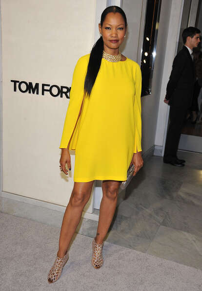 Actress Garcelle Beauvais pops in yellow at TOM FORD.