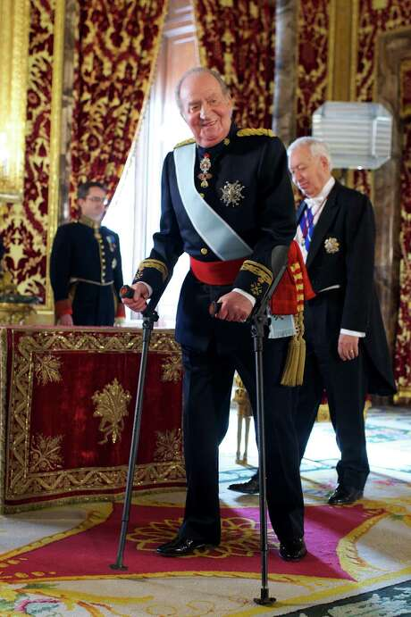 King Juan Carlos of Spain receives new ambassadors at the Royal Palace on February 6 in Madrid, Spain. His approval was down one-fourth from last year's. Photo: Carlos Alvarez, Stringer / 2013 Getty Images