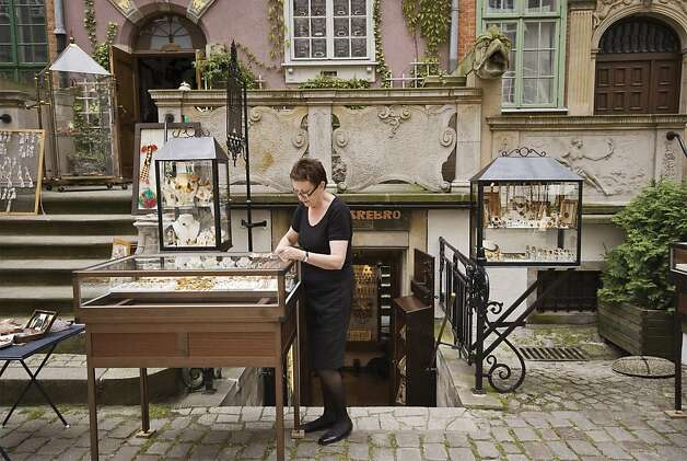 Amber jewellery shops on St Mary Street in Gdansk, Poland. Photo: Witold Skrypczak, Lonely Planet Images
