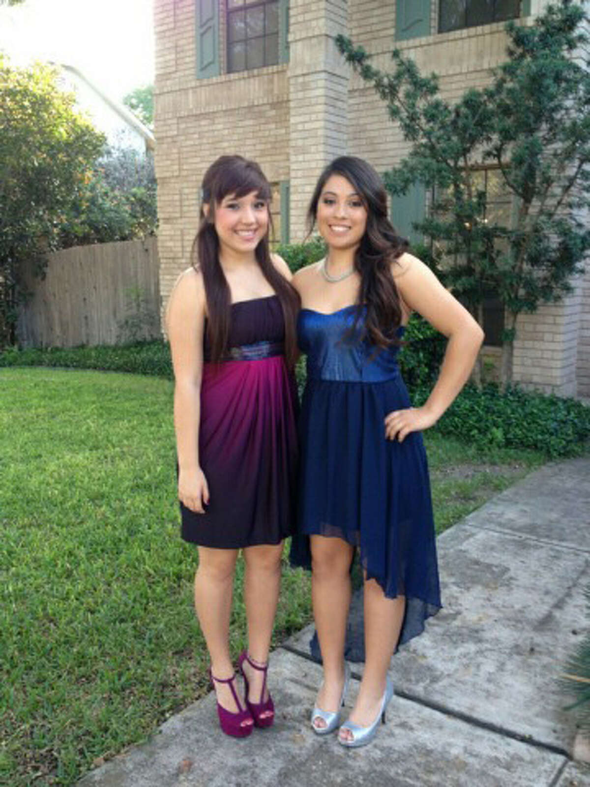 Katherine Cavazos, left, and Gabriella Lerma, dressed for the Brandeis High School homecoming dance. Lerma was involved in a fatal car accident while she was on her lunch break from Brandeis.