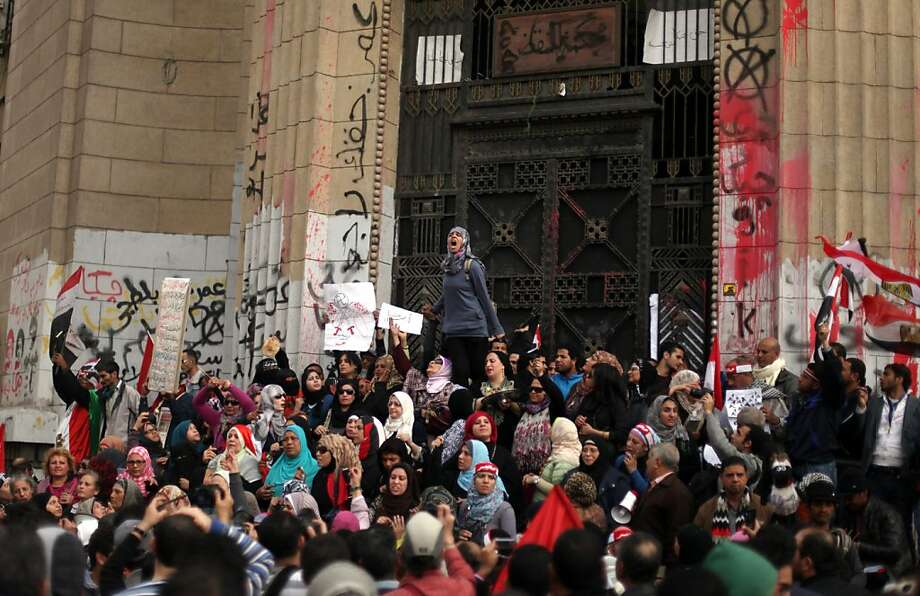Protesters crowd in front of Egypt's high court building in downtown Cairo, shouting antigovernment slogans. Opposition groups say an April election could inflame tensions. Photo: Khalil Hamra, Associated Press