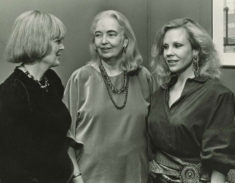 "In 1985,  Hood (center) was the subject of the documentary ""Dorothy Hood: the Color of Life."" Producer Pam Peabody stands to Hood's left; and Carolyn Farb, right, was associate producer.