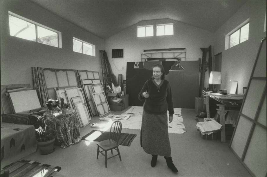Dorothy Hood in her studio. Photo: Houston Chronicle Photo