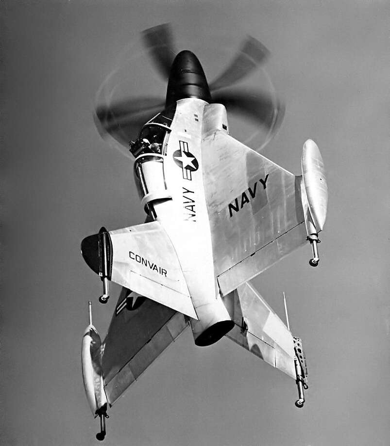 The Convair XFY-1 Pogo was a post-World War II attempt at a vertical takeoff and landing aircraft, conceived to be based on non-carrier ships for intercepting hostile aircraft. Struts mounted to the rear of the airplane compressed several feet to dampen impact on landing, like a pogo stick. The pilot's seat rotated for safety and comfort in vertical and horizontal flight. Photo: U.S. Navy