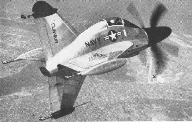 The Convair XFY-1 Pogo flew successfully in 1954 and 1955, but it was difficult to handle, and the Navy turned its focus to fixed-wing jets. Photo: U.S. Navy
