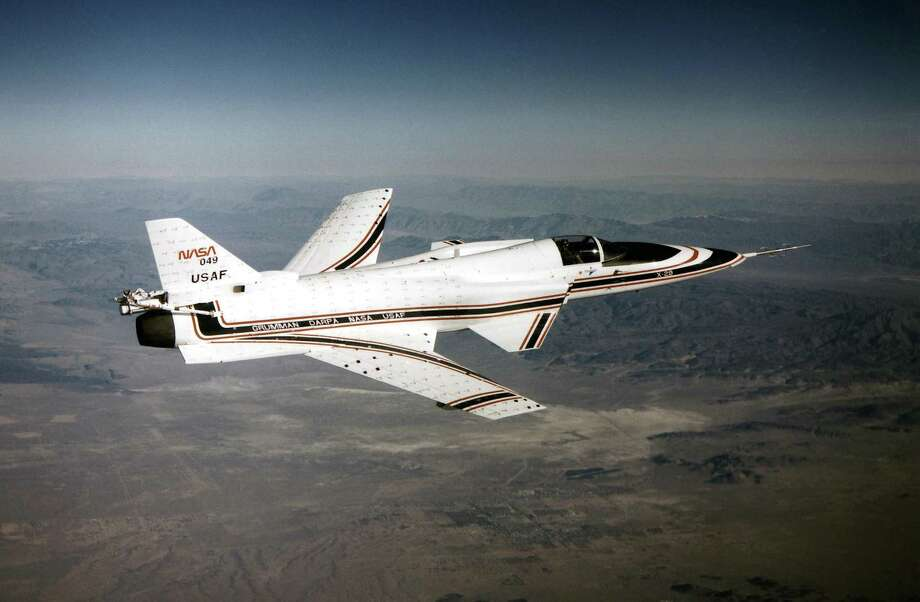 "The X-29A ""almost looked like it was flying backward,"" according NASA, which worked on the project with the Air Force, Defense Advanced Research Projects Agency and Grumman. Its wings swept forward from the back of the fuselage, behind the horizontal stabilizers (which are usually at the tail). ""The complex geometries of the wings and canards combined to provide exceptional maneuverability, supersonic performance, and a light structure,"" according to NASA. Grumman started building the first of two X-29As in 1982. Test flights continued through 1992. Photo: Courtesy Photo, U.S. Civilian"
