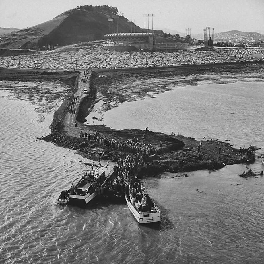 Exterior view of Candlestick Park as boats bring fans in for Opening Day 1960 against the St. Louis Cardinals. Photo: Jon Brenneis, Getty Images