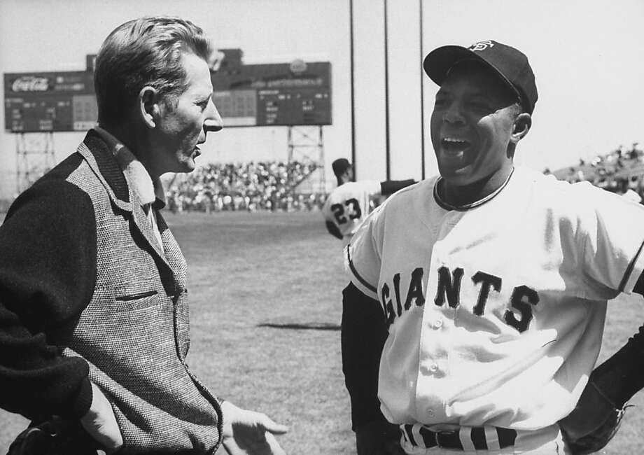 Two stars, actor Danny Kaye and Willie Mays chat before a game in San Francisco. You can imagine they did a synchronized dance number afterward. Photo: Don Cravens, Getty Images