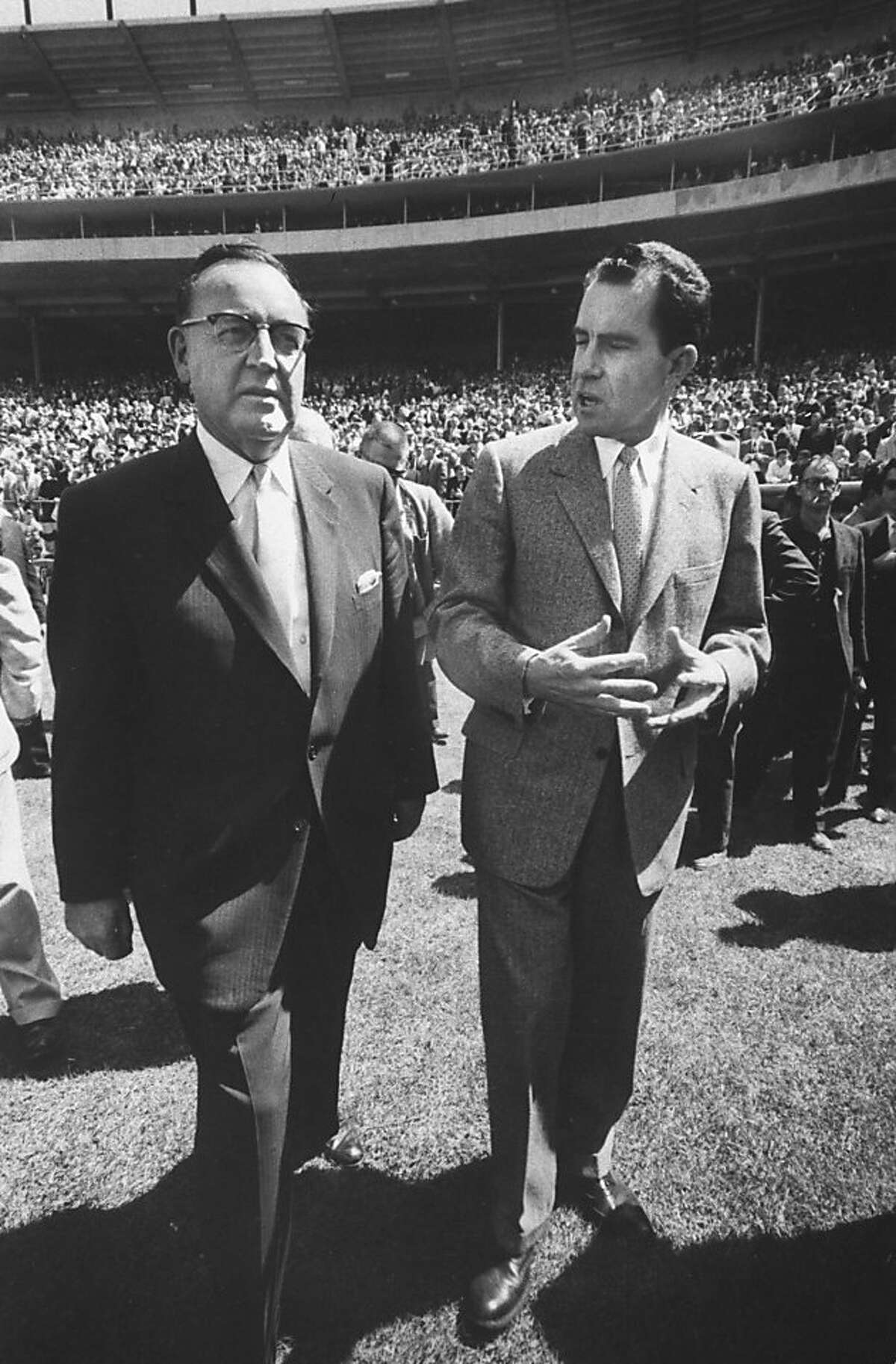 Gov. Pat Brown (L) and Richared M. Nixon (R) the ceremonies at opening game in Candlestick Park. (Photo by Bill Bridges//Time Life Pictures/Getty Images)