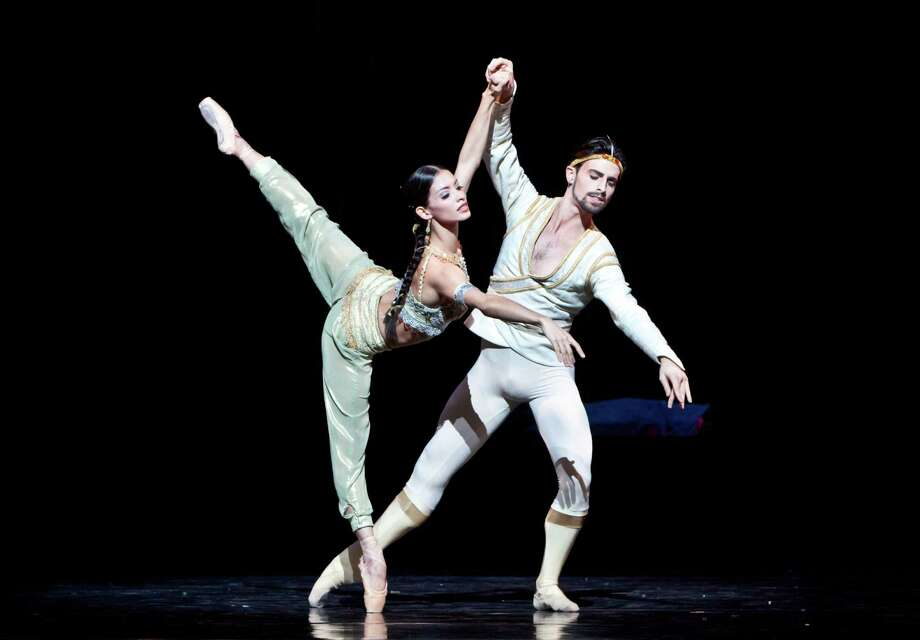 "Karina González, here with partner Joseph Walsh in one of the passionate pas de deux of ""La Bayadere,"" was promoted to principal in a surprise announcement after Thursday's opening-night performance. Photo: Amitava Sarkar"