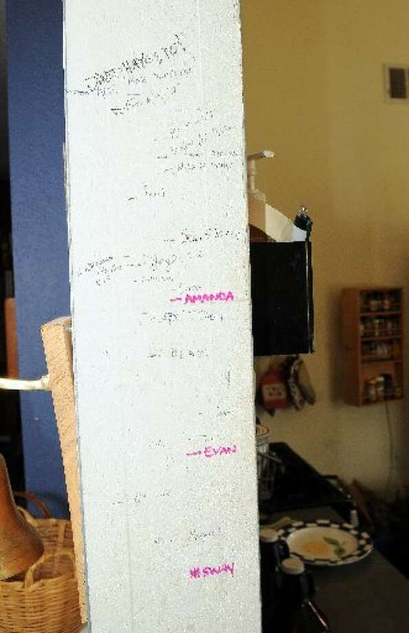 A wall with the height marks of the residents on Rosalie.