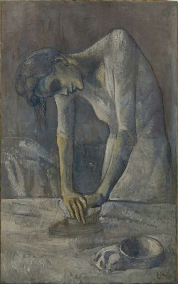 Pablo Picasso, Woman Ironing, Bateau-Lavoir, Paris, spring 1904, oil on canvas, Solomon R. Guggenheim Museum, New York, Thannhauser Collection, gift, Justin K. Thannhauser, New York.  2013 Estate of Pablo Picasso / Artists Rights Society (ARS), New York Photo:  2013 Estate Of Pablo Picasso