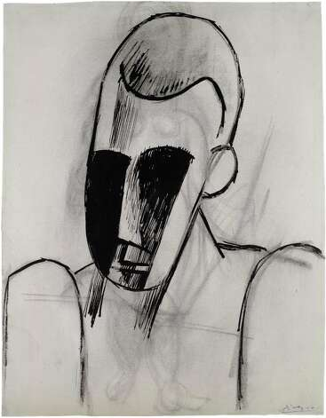 Pablo Picasso, Head of a Man, 1908, ink and charcoal on paper, Private Collection.  2013 Estate of