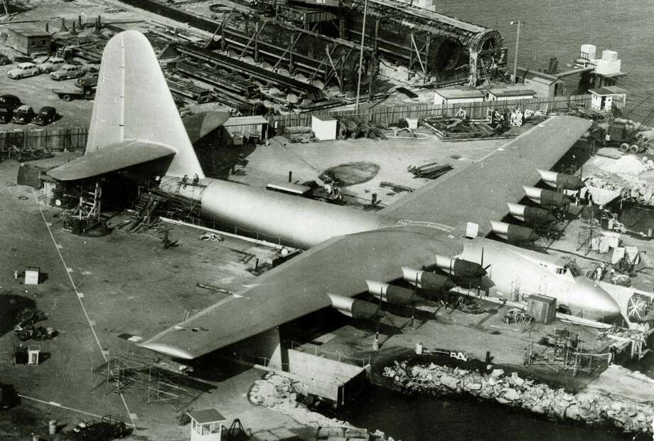 "Surely the most famous, or notorious, flying boat is the Hughes H-4 Hercules, better known by its nickname, ""The Spruce Goose."" The H-4 was built to meet a government request in 1942 for a new cargo and troop carrier. To save metal for other wartime uses, it substituted wood -- mostly laminated birch, not spruce.The H-4 was the largest flying boat ever built, weighing 400,000 pounds, with a length of 218 feet (12 feet longer than the stretched Boeing 787-9 Dreamliner) and a wingspan of 320 feet (60 feet more than an Airbus A380). It was designed to carry 750 fully equipped troops or two Sherman tanks. Photo: Popperfoto, Popperfoto/Getty Images / Popperfoto"