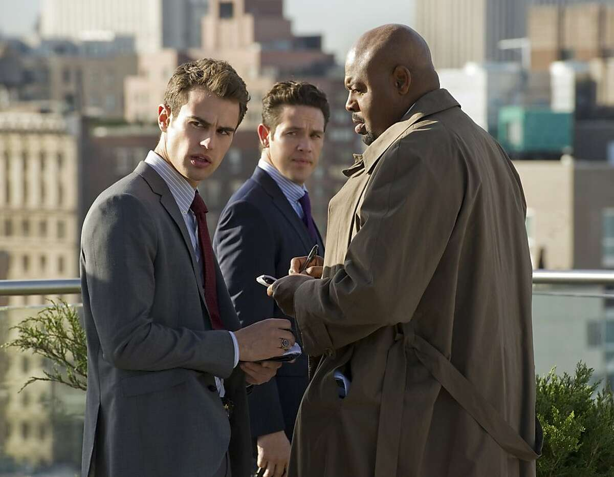 """""""Pilot"""" -- (left to right) Clark (Theo James), Arroyo (Kevin Alejandro) and Owen (Chi McBride) work a case in the new CBS drama GOLDEN BOY. GOLDEN BOY."""