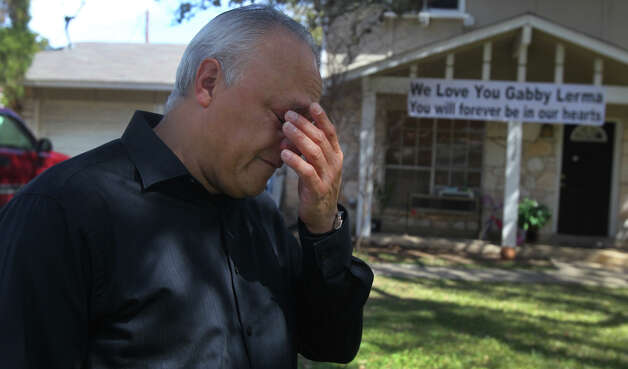 "Robert Contreras, grandfather of Gabriela Lerma, sheds tears on Feb. 22, 2013, while remembering her. Lerma, a student at Brandeis High School, died this week in a fatal car crash. ""We had so many plans,"" Contreras said. Photo: JOHN DAVENPORT, San Antonio Express-News / ©San Antonio Express-News/Photo Can Be Sold to the Public"