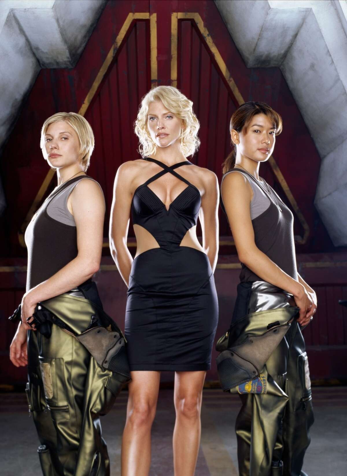 Are you a ''Battlestar Galactica'' fan? In honor of Syfy's recent airing of the web series ''Blood & Chrome,'' here's a look at your favorite actors. Pictured are Katee Sackhoff as Starbuck, left, Tricia Helfer as Number Six, center, Grace Park as Boomer, from Season 1.
